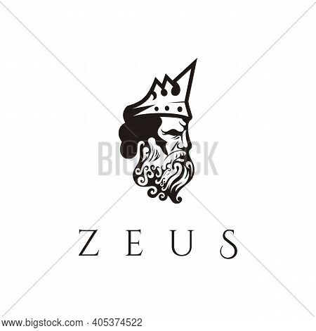 Greek God Zeus. Ancient Greek God Sculpture Philosopher. Face Zeus Triton Neptune Logo Design