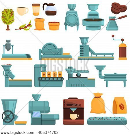 Coffee Production Icons Set. Cartoon Set Of Coffee Production Vector Icons For Web Design