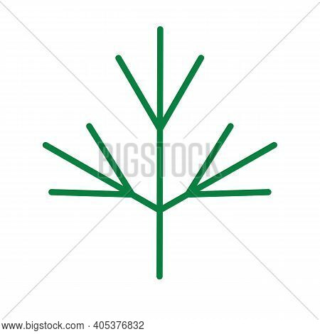 Dill Or Fennel Leaf Icon. Flat Vector Isolated.