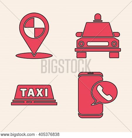 Set Taxi Call Telephone Service, Map Pointer With Taxi, Taxi Car And Taxi Car Roof Icon. Vector