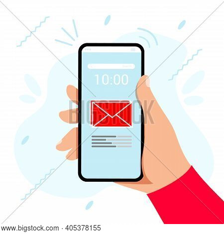 Hand Touching Smart Phone With Email Symbol On The Screen Vector Illustration Flat Style