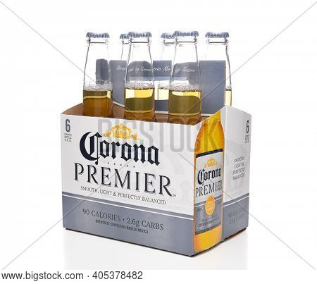 IRVINE, CALIFORNIA - MARCH 21, 2018: 6 pack of Corona Premier side end view. Corona Premier is premium light beer with 2.6 grams of carbs and 90 calories.