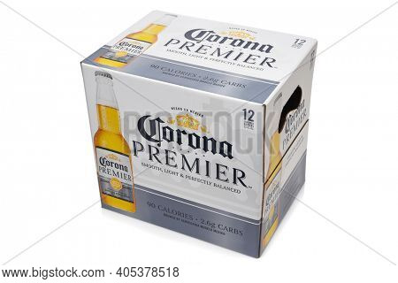 IRVINE, CALIFORNIA - 10 MAR 2020: A 12 pack of Corona Premier bottles, Corona Premier is premium light beer with 2.6 grams of carbs and 90 calories.