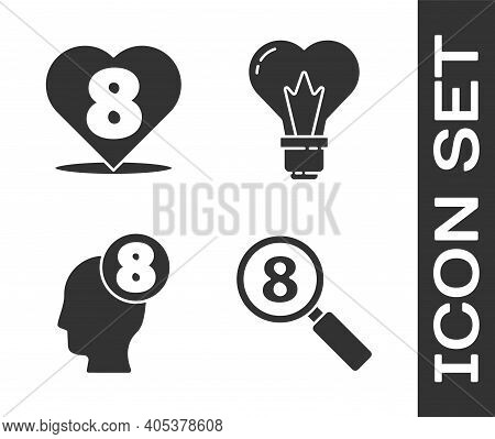 Set Search 8 March, Heart With 8 March, 8 March In Human Head And Heart Shape In A Light Bulb Icon.
