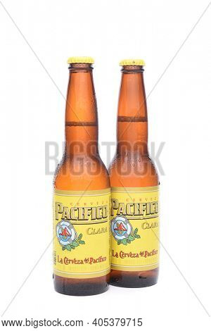 IRVINE, CALIFORNIA - JANUARY 22, 2017: 2 Bottles of Cerveza Pacifico Clara, better known as Pacifico, is a Mexican pilsner-style beer, brewed in in the Pacific Ocean port city of Mazatlan.