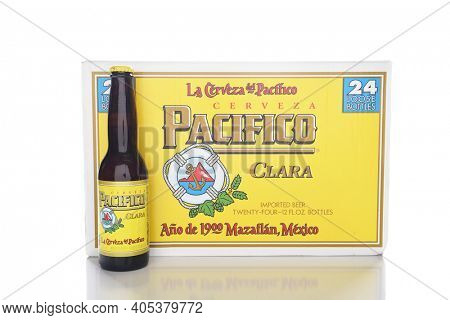 IRVINE, CALIFORNIA - JANUARY 8, 2017: Pacifico Beer 24 pack. Cerveza Pacifico Clara, better known as Pacifico, is a Mexican pilsner-style beer, brewed in in the Pacific Ocean port city of Mazatlan.