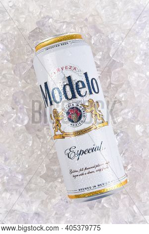 IRVINE, CALIFORNIA - MARCH 21, 2018: A can of Modelo Especial on ice. First bottled in 1925, Modelo Especial is the number 2 imported beer in the U.S. by case sales.