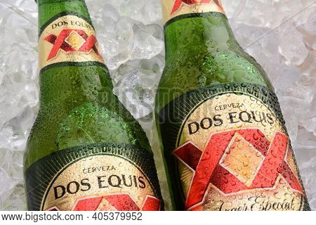 IRVINE, CA - MAY 25, 2014: Two Bottles of Dos Equis Lager Especial on a bed of ice. Founded in 1890 from the Cuauhtemoc-Moctezuma Brewery in Monterrey, Mexico a subsidary of Heineken International.