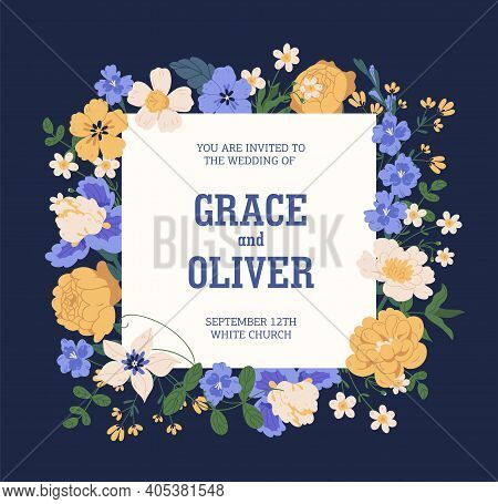 Design Of Wedding Invitation With Elegant Lush Flowers. Floral Template Of Inviting Card With Gorgeo