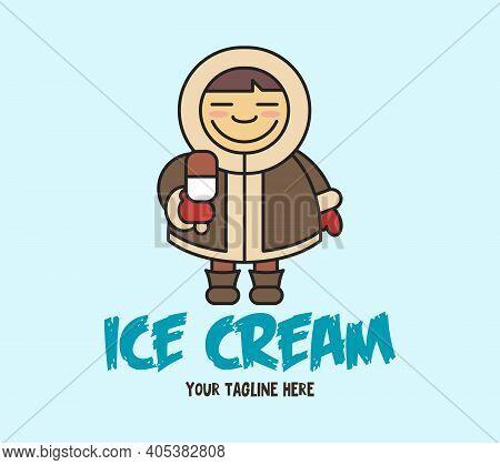 Vector Cartoon Illustration Of Funny Eskimo Child With Ice Cream. Cute Little Baby Eskimo In A Fluff