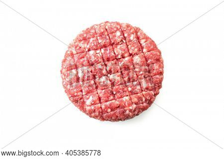 Fresh raw burger patty isolated on white background
