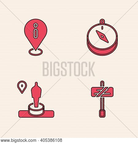 Set Road Traffic Sign, Location With Information, Compass And And Monument Icon. Vector