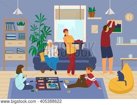 Family At Home. Kids Playing Board Game, Grandmather Reads Newspaper, Mother Doing Laundry, Father H