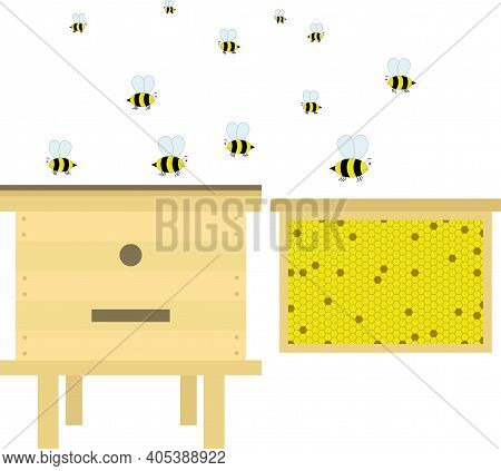 Beehive With Apiary, Frame With Honeycombs And Nectar. Vector Elements Of Beekeeping.