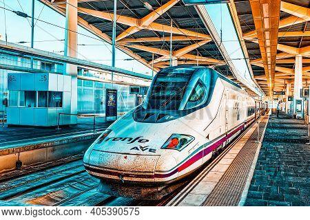 North Railways Station And Modern Hi-speed Passenger Train Of Sp