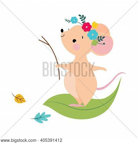 Funny Mouse With Pointed Snout And Rounded Ears Standing On Green Leaf Vector Illustration