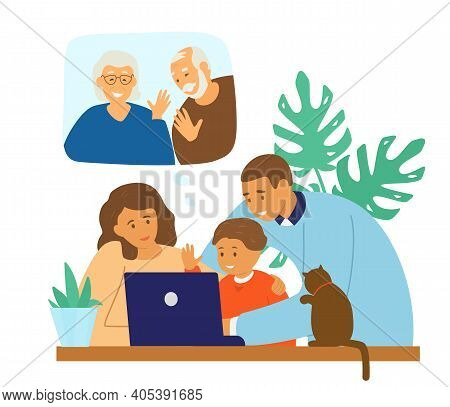 Family Videoconference. Online Communication. Parents With Child Chatting With Granparents By Video