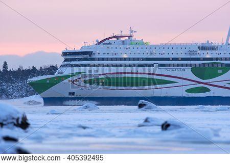 Helsinki, Finland - January 16, 2021: Tallink M/s Megastar Ferry Arriving From Tallinn To Helsinki I