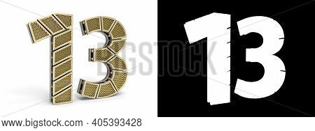 Gold Number Thirteen (number 13) Cut Into Perforated Gold Segments With Alpha Channel And Shadow On