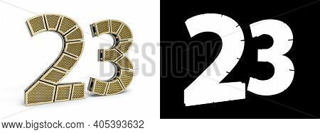 Gold Number Twenty-three (number 23) Cut Into Perforated Gold Segments With Alpha Channel And Shadow