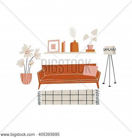 Furniture Store Concept. Living Room Interior Design. Furniture Elements Set Including Sofa, Lamp, H