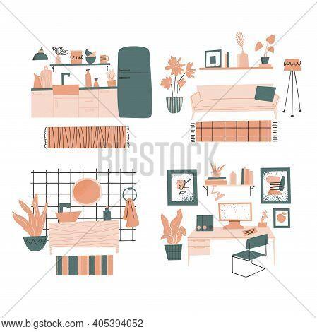 Furniture Store Concept. Living Room, Kitchen, Bathroom And Workspace Interior Design. Furniture Ele