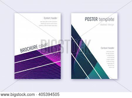 Geometric Cover Design Template Set. Neon Abstract Lines On Dark Blue Background. Breathtaking Cover