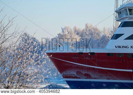Helsinki, Finland - January 15, 2021: M/s Viking Xprs Ferry Arriving To Helsinki From Tallinn In Ext