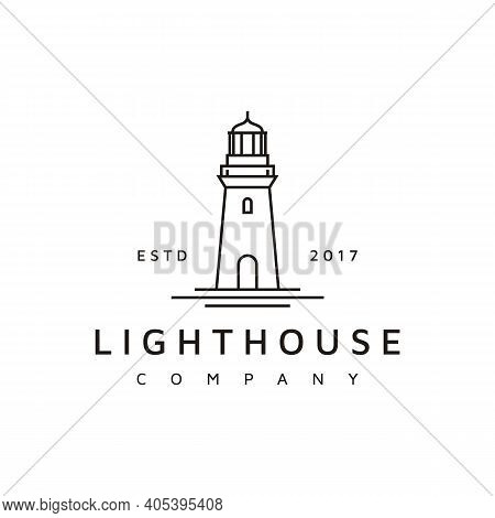 Simple Line Art Lighthouse Searchlight Beacon Tower Island Beach Coast Logo Design