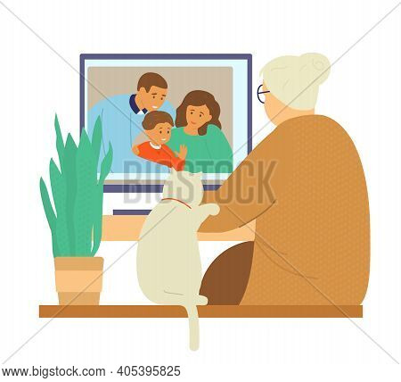 Family Videochat. Grandmother Talks To Her Daughter's Family By Videocall. Online Communication. Fla