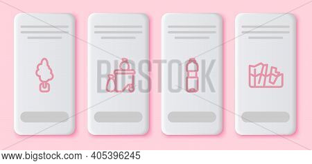 Set Line Tree, Full Dustbin, Bottle Of Water And Glacier Melting. White Rectangle Button. Vector