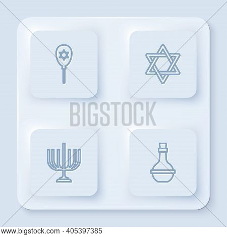 Set Line Balloon With Star Of David, Star David, Hanukkah Menorah And Jewish Wine Bottle. White Squa