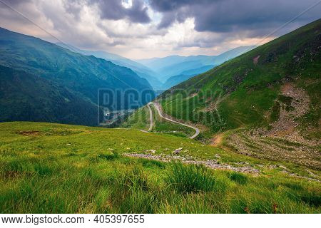 Road In High Mountains Of Romania. Popular Travel Destination Of Fagaras Ridge. Route 7c Is Also Kno