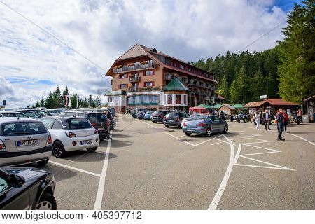 Mummelsee, Germany - Sep 22, 2018: Large Parking Of Hotel Berghotel Mummelsee With Full Park Area Wi