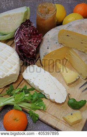 Cheese Boards, Vegetables And Quince Mustard, White Fresh Cheese And Yellow Long-ripening Cheese, Ch