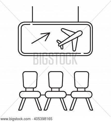 Departure Area Icon Vector. Airport Transit Zone Sign In Outline Style Is Shown. Dashboard With Airl
