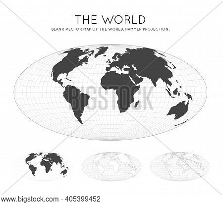 Map Of The World. Hammer Projection. Globe With Latitude And Longitude Lines. World Map On Meridians