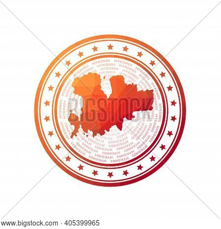 Flat Low Poly Stamp Of Mykonos. Polygonal Mykonos Badge. Trendy Vector Logo Of The Island.