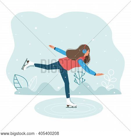 Beautiful Girl, Young Woman Skating Outdoors. Winter Sports. Figure Skating. Vector Illustration