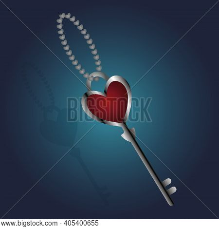 Heart Shaped Key. A Device To Open A Love Padlock. Keychain Made Of A Metal Chain Consisting Of Hear