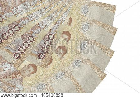 1000 Thai Baht Bills Lies Isolated On White Background With Copy Space Stacked In Fan Shape Close Up