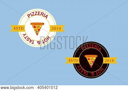 Pizzeria Vector Logo, Icon. Graphic Design Element With A Slice Of Pizza.