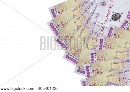 50000 Romanian Leu Bills Lies Isolated On White Background With Copy Space. Rich Life Conceptual Bac