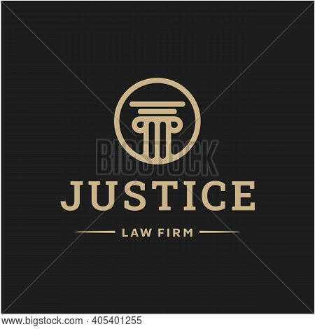 Law Firm Logo Icon Vector Design. Universal Legal, Lawyer, Justice Scales, Line Art Style Logo Desig
