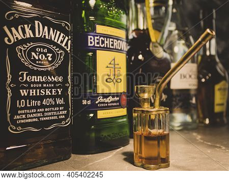 Poland, Warsaw - April 24, 2020: Bong With Cognac And Whiskey On A Background Of Alcohol