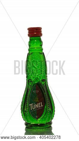 Poland, Warsaw - April 24, 2020: Herbal Tincture Of Liquor Tunel On A White Background