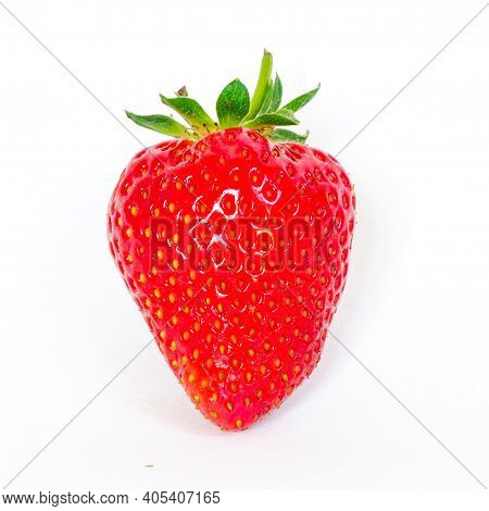 Fresh Cut Strawberry Fruit With Long Stem Isolated On White Background With Copy Space