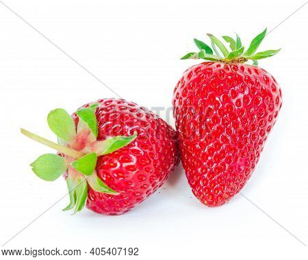 Two Strawberry Fruits Isolated On White Background With Copy Space