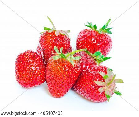 Pile Of Strawberry Fruits Isolated On White Background With Copy Space