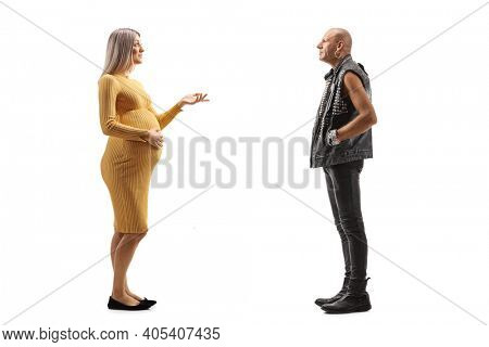 Punk rocker and a pregnant woman having a conversation isolated on white background